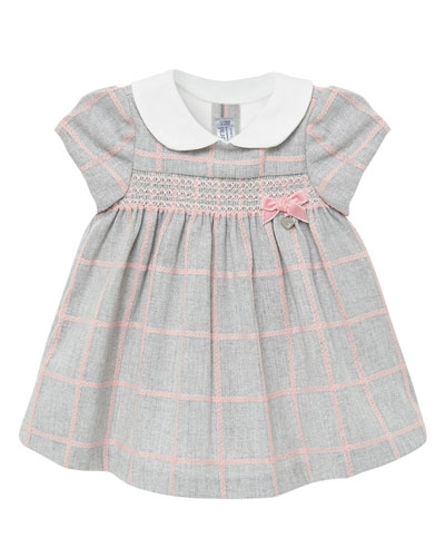 Girl's Knit Plaid Smocked Dress  Size 2-12 Months