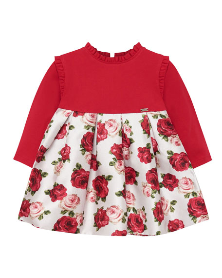 Mayoral Girl's Ruffle Trim Long-Sleeve Floral Dress, Size 6-36 Months