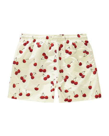 OAS Kid's Cherry Print Drawstring Swim Trunks, Size 2-14