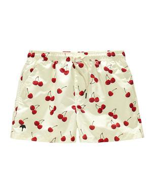 bba1d3f3f3 OAS Kid's Cherry Print Drawstring Swim Trunks, Size 2-14
