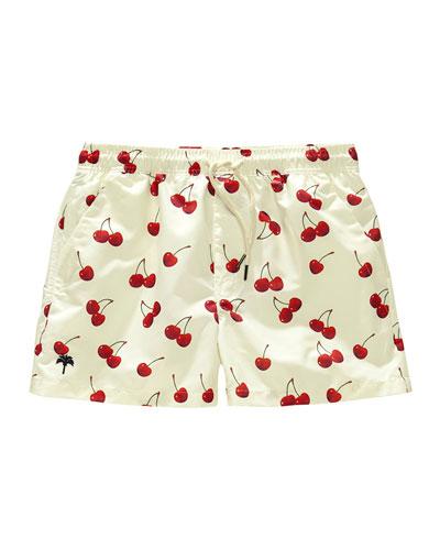 Kid's Cherry Print Drawstring Swim Trunks  Size 2-14