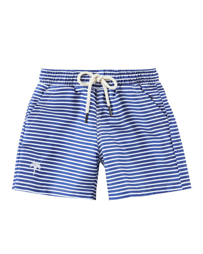 Kid's Striped Drawstring Swim Trunks  Size 2-14