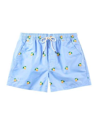 Kid's Lemon Print Drawstring Swim Trunks  Size 2-14