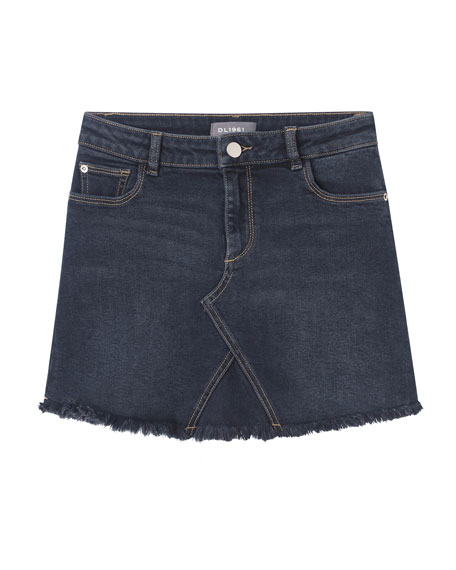 DL 1961 Jenny Raw Edge Denim Skirt, Size 7-16