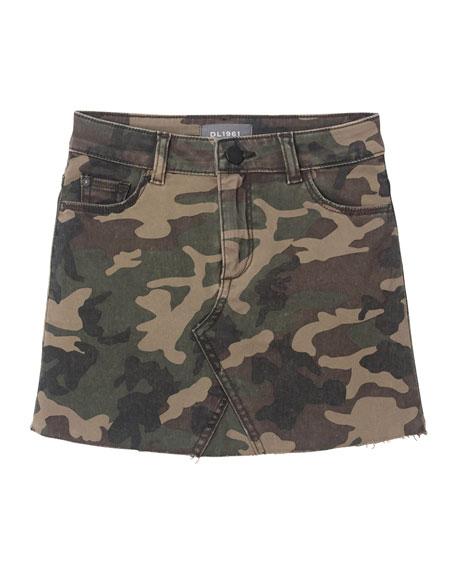 DL 1961 Jenny Raw Edge Camo Skirt, Size 2-6