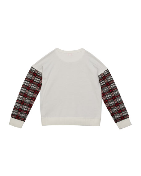 Image 2 of 2: Design History Girls Girl's Multicolor Plaid Contrast Sweater, Size S-XL