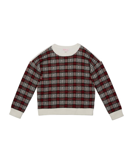 Image 1 of 2: Design History Girls Girl's Multicolor Plaid Contrast Sweater, Size S-XL