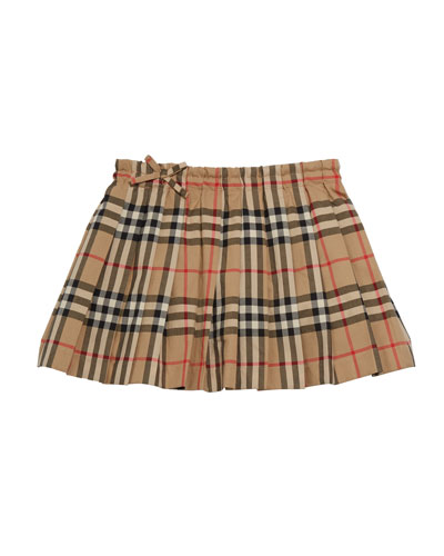Girl's Pearly Archive Check Pleated Skirt  Size 3-14