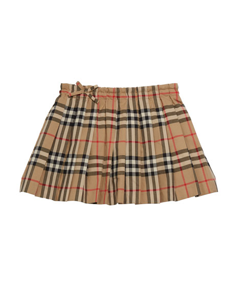 Burberry Girl's Pearly Archive Check Pleated Skirt, Size 3-14