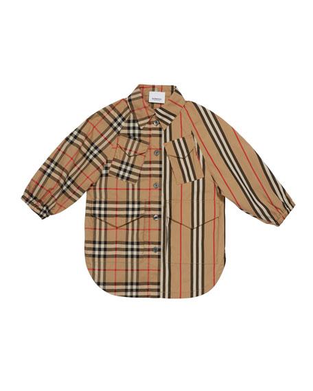 Burberry Girl's Mini Teigan Check & Icon Stripe Dress, Size 3-14