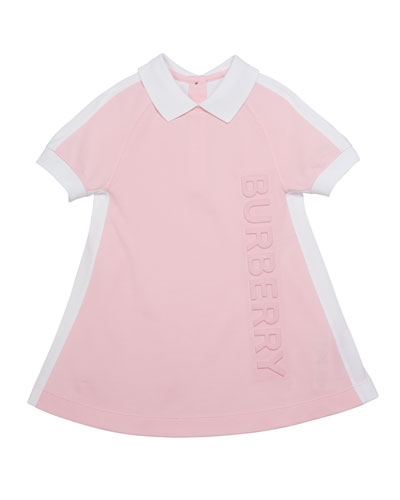 Girl's Stacey Short-Sleeve Logo Polo Dress, Size 3-14