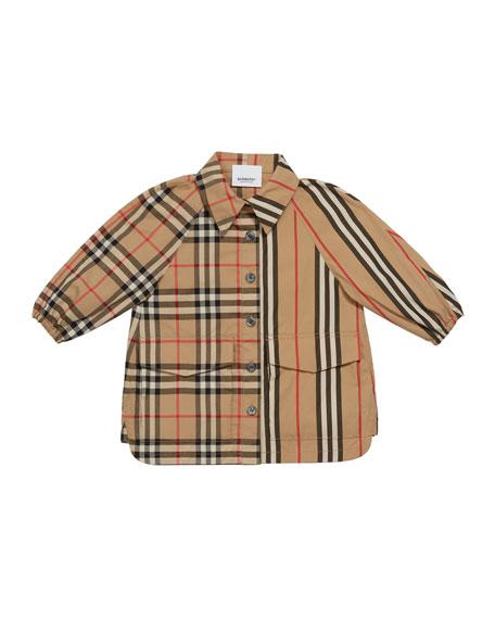 Burberry Girl's Mini Teigan Check & Icon Stripe Dress, Size 6M-2