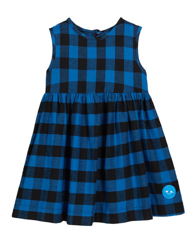 Flannel Buffalo Check Sleeveless Dress, Size 0m-10