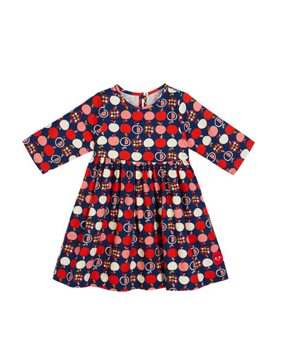 Honeycrisp Apple Print 3/4-Sleeve Dress, Size 18m-10