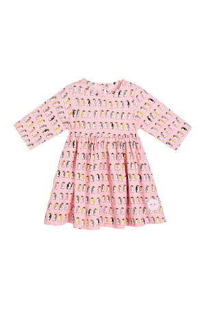 Smiling Button Penguin Parade Print 3/4-Sleeve Dress, Size 18m-10