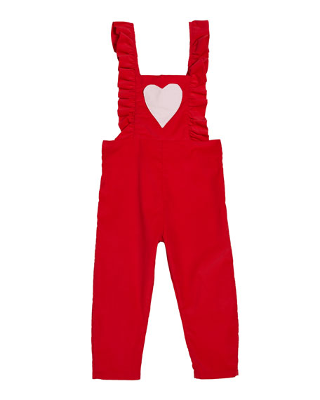 Smiling Button Be Mine Ruffle Overalls, Size 18m-10