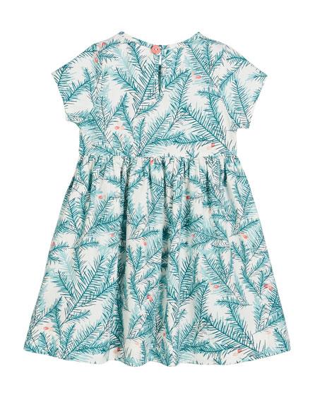 Smiling Button Evergreen Print Sunday Dress, Size 0m-10