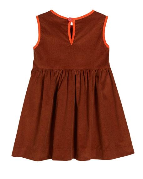 Smiling Button Corduroy Contrast-Trim Sleeveless Dress, Size 0m-10