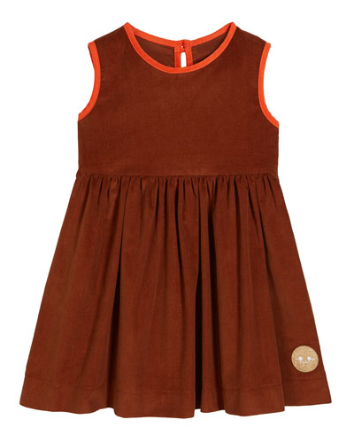 Corduroy Contrast-Trim Sleeveless Dress, Size 0m-10
