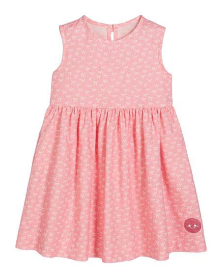 Smiling Button Ballerina Bow Print Sleeveless Dress, Size 0m-10