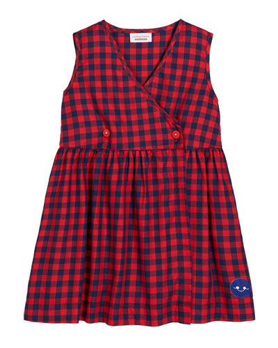 Gingham Sleeveless V-Neck Dress, Size 0m-10