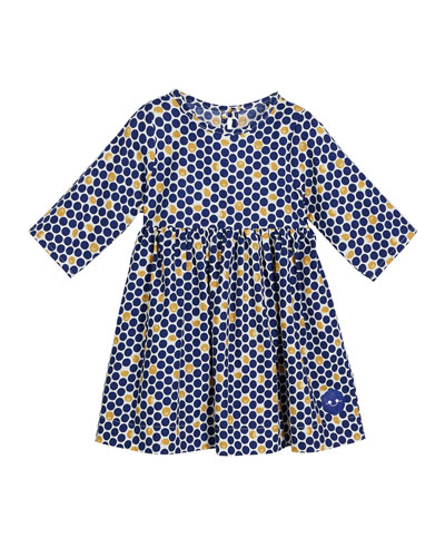 Hedgehog Dotted Print 3/4-Sleeve Dress, Size 18m-10