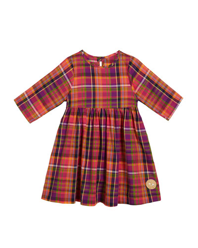 Autumn Plaid 3/4-Sleeve Dress, Size 18m-10