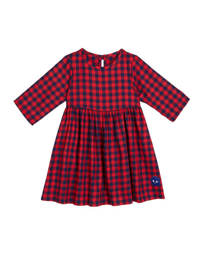 School Yard Check Print 3/4-Sleeve Dress, Size 18m-10