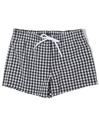 Gingham Drawstring Swim Shorts  Size 6-14