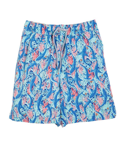 Shark-Print Swim Trunks  Size XS-XL
