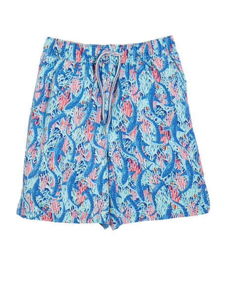 Peter Millar Shark-Print Swim Trunks, Size XS-XL
