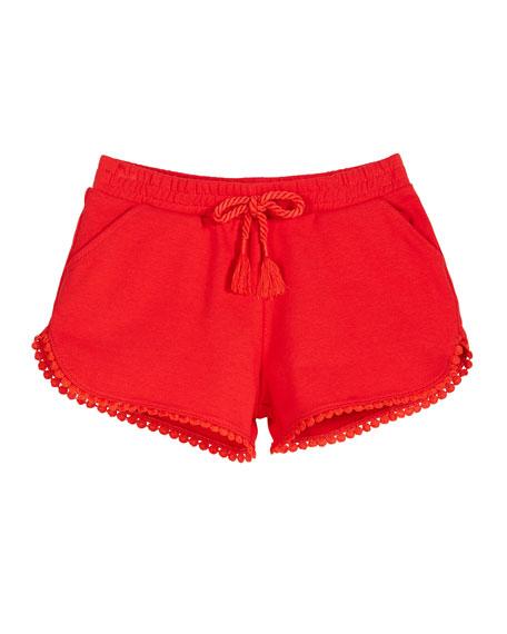 Mayoral Chenille Drawstring Shorts w/ Pompom Trim