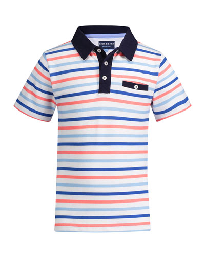 Multicolored Stripe Polo Shirt  Size 8-14