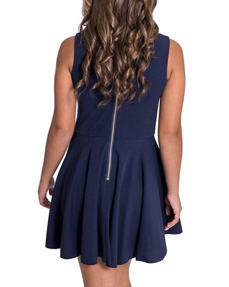 Zoe Metallic Accent V-Neck Dress, Size 7-16