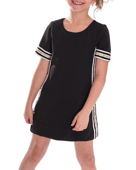 Zoe Metallic Racer Stripe Trim Dress, Size 7-16