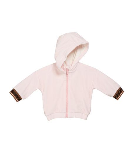Fendi Girl's Zip-Up Hooded Jacket w/ FF Cuffs, Size 12-24 Months
