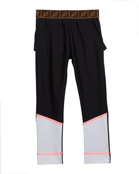 Fendi Girl's Two-Tone Leggings w/ Logo Waistband, Size 10-14