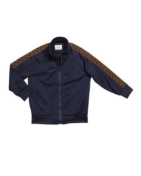 Fendi Kid's Track Jacket w/ FF Taping, Size 4-8