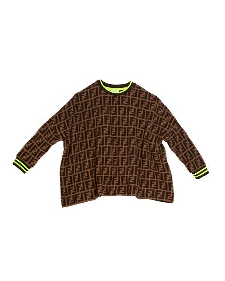 Fendi Allover FF-Print Sweater, Size 10-14