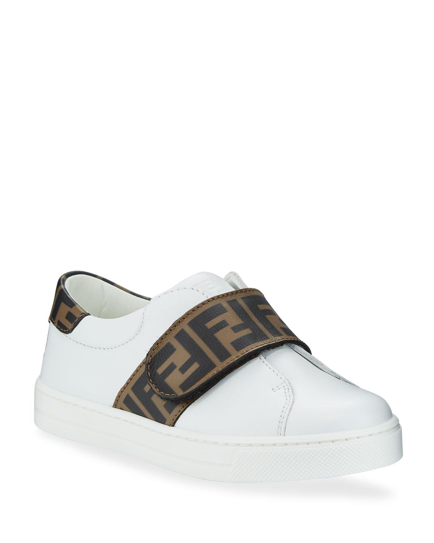 1ba8f350 Fendi FF Trim Leather Low-Top Sneakers, Toddler/Kids   Neiman Marcus