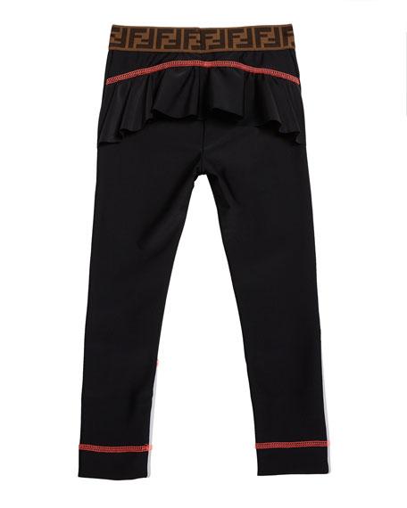 Fendi Girl's Two-Tone Leggings w/ Logo Waistband, Size 4-8