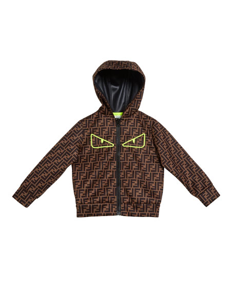 Fendi FF Print Monster Eyes Hooded Jacket, Size 10-14