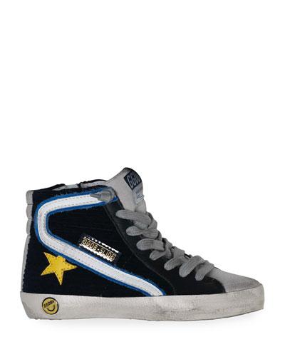 Boy's Slide High-Top Corduroy Sneakers  Baby/Toddler