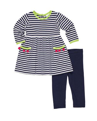 Stripe Knit Pompom Dress w/ Solid Leggings  Size 2-6X