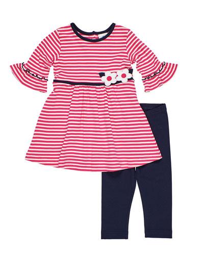 Striped Knit Flower Applique Dress w/ Solid Leggings  Size 2-6X