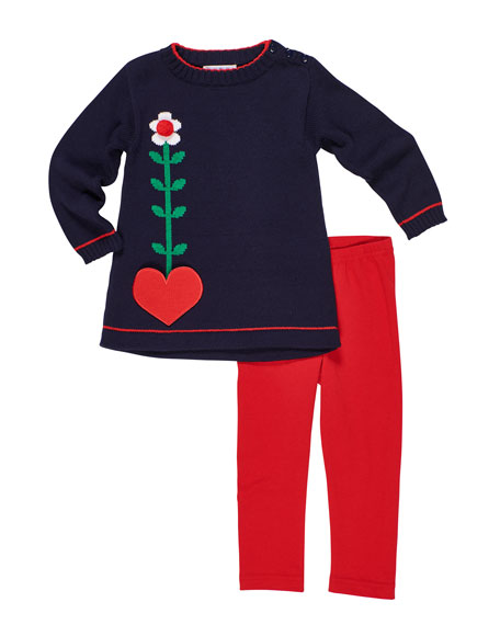 Florence Eiseman Heart Pocket Tunic Sweater w/ Solid Leggings, Size 2-6X