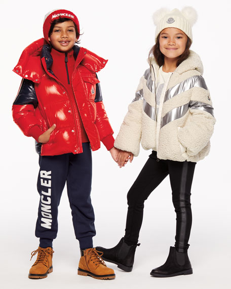 Image 2 of 3: Moncler Boy's Sigean Colorblock Puffer Coat, Size 4-6