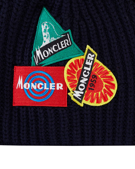 Image 2 of 2: Moncler Kids' Heritage Patch Hat w/ Pompom