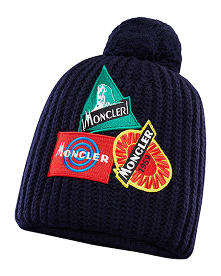 Image 1 of 2: Moncler Kids' Heritage Patch Hat w/ Pompom