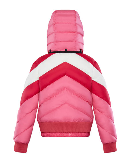 Image 2 of 2: Moncler Charix Detachable-Hood Colorblock Puffer Coat, Size 4-6